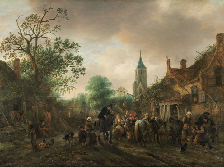 Isack van Ostade~The Halt at the Inn - Classical art
