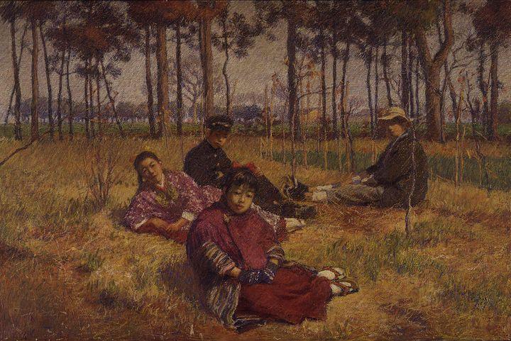 Ishii Hakutei~Rest on the Grass - Classical art