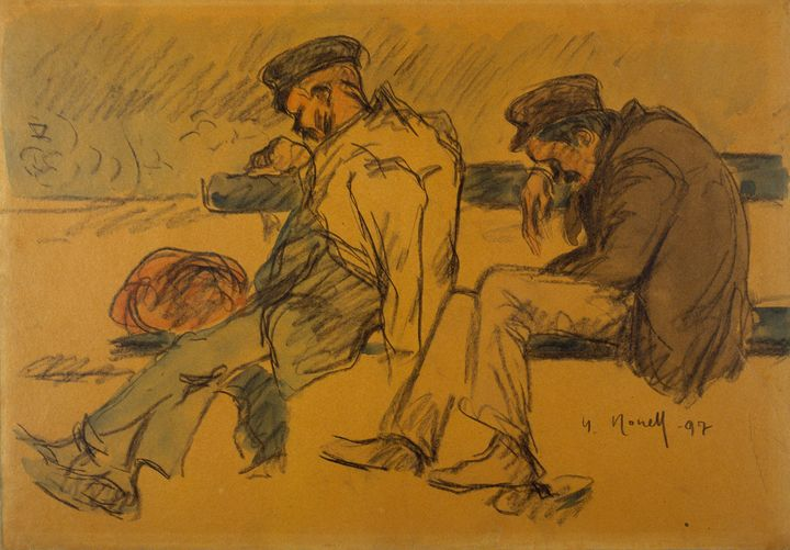Isidre Nonell~Two Poor Men Sleeping - Classical art