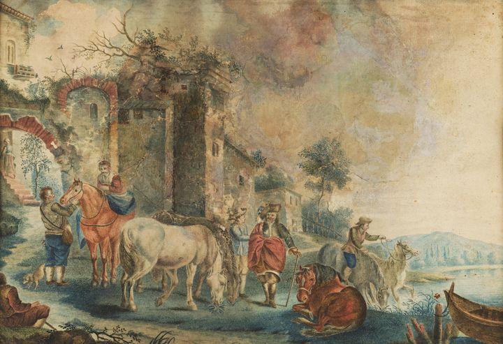 Italian artist~Landscape with figure - Classical art