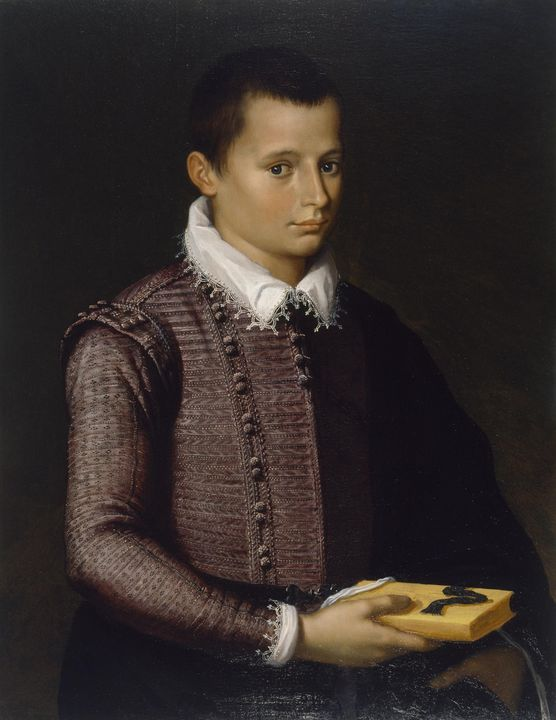 Italian~Portrait of a Boy Holding a - Classical art