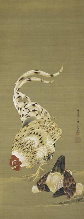 Itō Jakuchū~Rooster, Hen and Chicken - Classical art