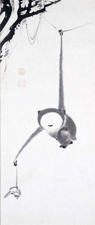 Itō Jakuchū~Two Gibbons Reaching for - Classical art