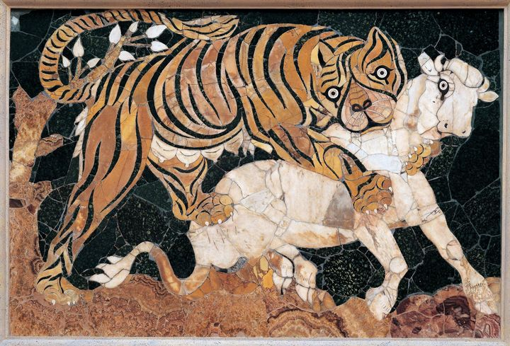 IV century A.D.~Tiger attacking a ca - Classical art