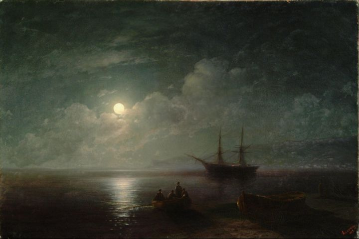 Ivan Aivazovsky~Seacape with Full Mo - Classical art