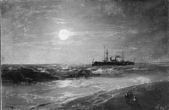 Ivan Aivazovsky~Ship by Moonlight - Classical art