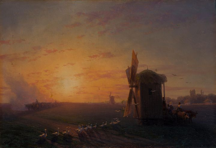 Ivan Aivazovsky~Steppe at sunset - Classical art
