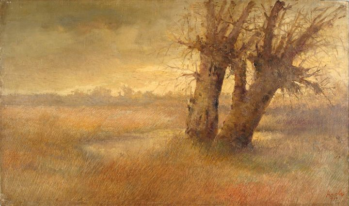 Ivan Angelov (1864-1924)~Two Willows - Classical art