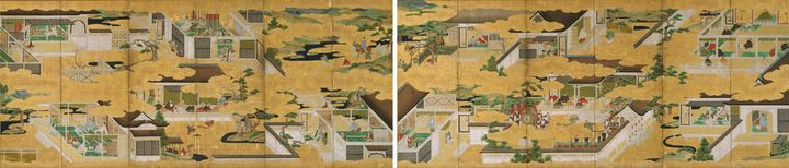 Iwasa School~Folding Screen with Des - Classical art