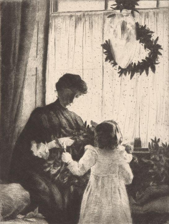 J. Alden Weir~Christmas Greens - Classical art