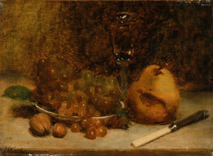 J. Alden Weir~Grapes, Knife and Glas - Classical art
