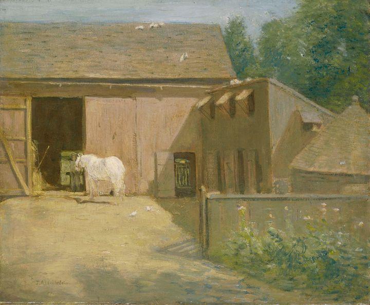 J. Alden Weir~New England Barnyard - Classical art