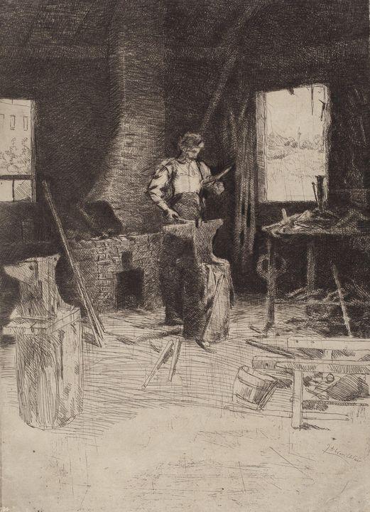 J. Alden Weir~The Blacksmith's Shop - Classical art