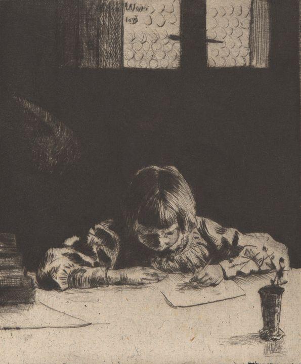 J. Alden Weir~The Little Student - Classical art