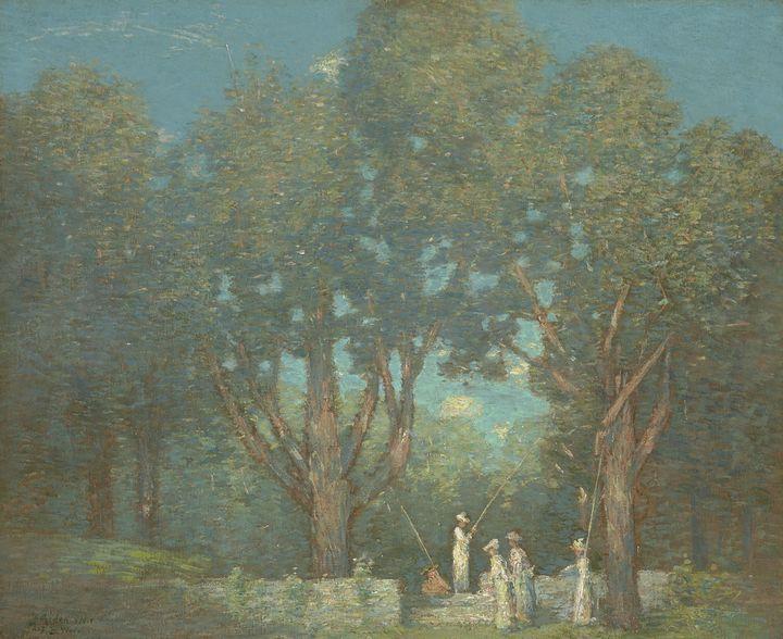 J. Alden Weir~The Return of the Fish - Classical art