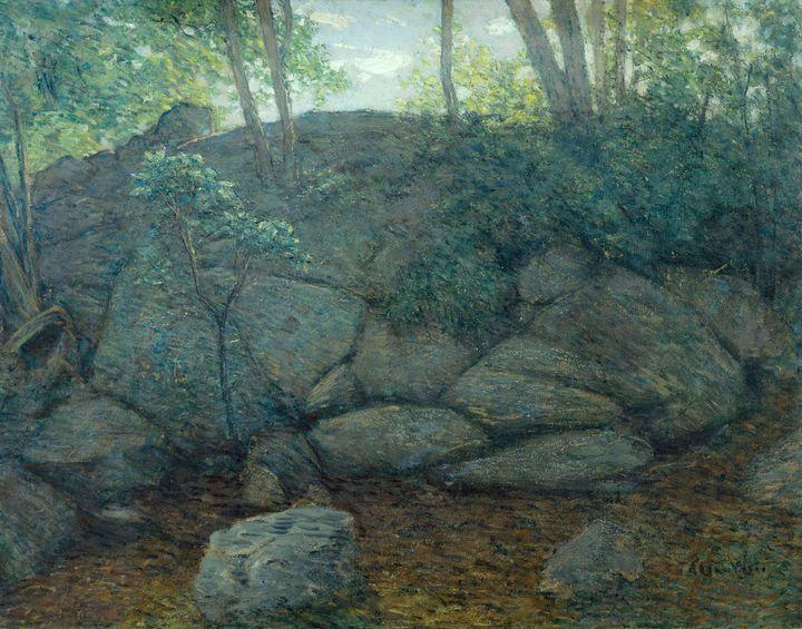 J. Alden Weir~Woodland Rocks - Classical art
