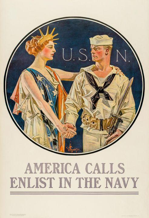 J. C. Leyendecker~America Calls, Enl - Classical art