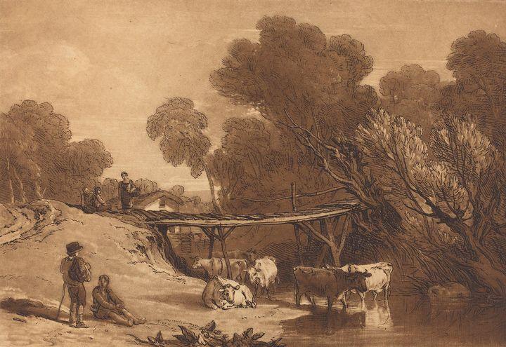 J. M. W. Turner~Bridge and Cows - Classical art