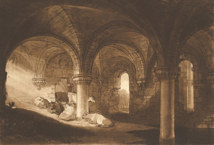 J. M. W. Turner~Crypt of Kirkstall A - Classical art