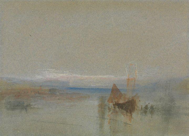 J. M. W. Turner~Fishing Boats Becalm - Classical art