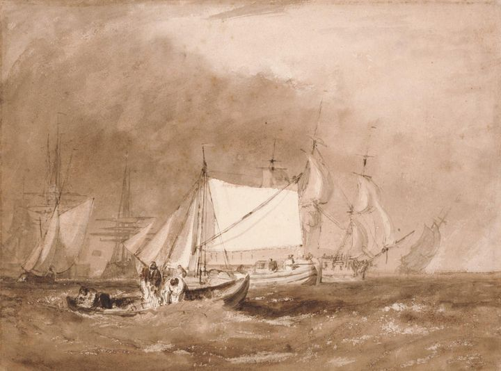 J. M. W. Turner~Shipping Scene, with - Classical art