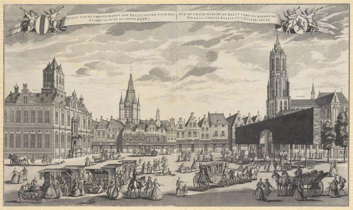 J. Rademaker~View of the Market - Classical art