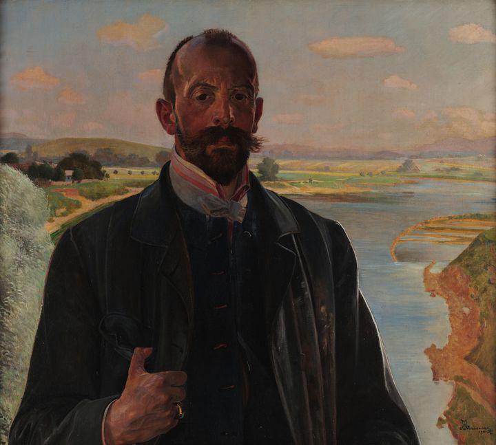 Jacek Malczewski~Self-portrait with - Classical art