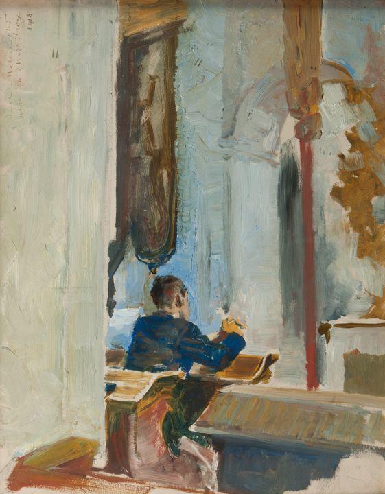 Jacek Malczewski~Sketch for a prayer - Classical art