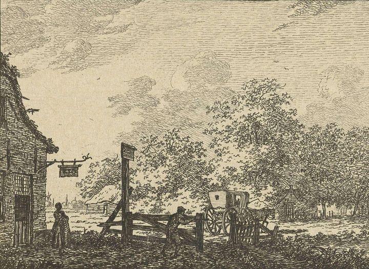 Jacob Cats~Landschap met wagen voor - Classical art