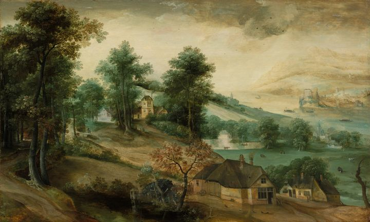 Jacob Grimmer~Landscape with Cottage - Classical art