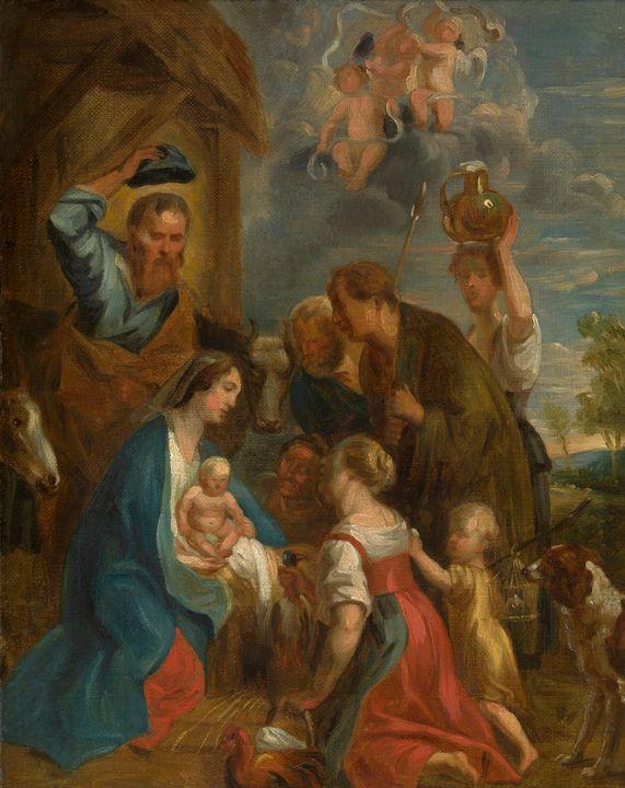 Jacob Jordaens~Adoration of the Shep - Classical art