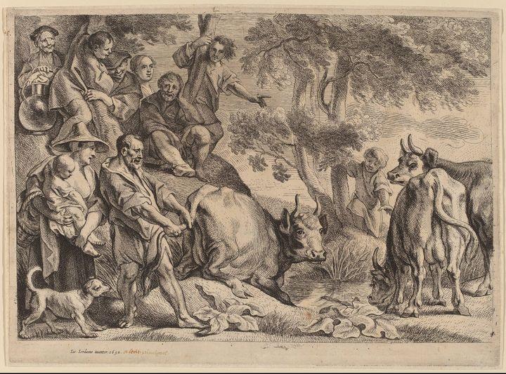 Jacob Jordaens~Cacus Robbing the Cat - Classical art