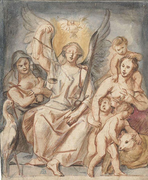 Jacob Jordaens~De Gerechtigheid, zit - Classical art
