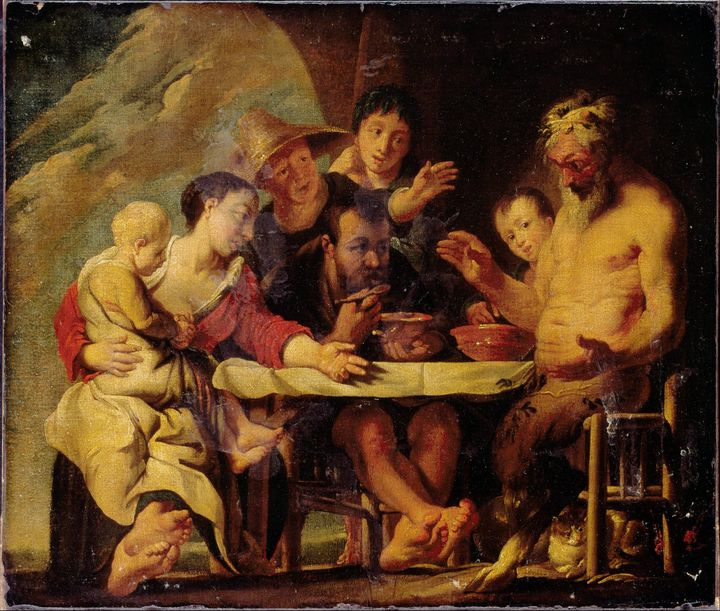 Jacob Jordaens~Satyr and Peasants - Classical art