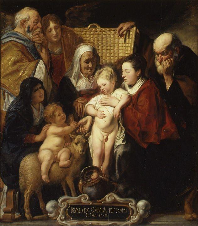 Jacob Jordaens~The Holy Family with - Classical art