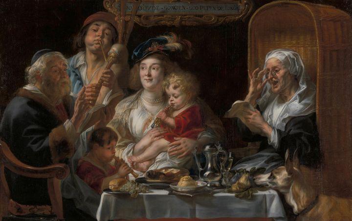 Jacob Jordaens~The old Folks sing, t - Classical art