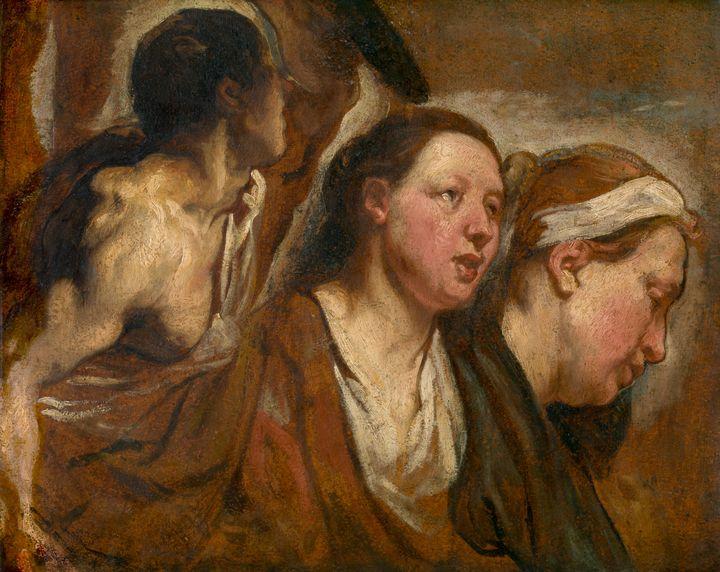 Jacob Jordaens~Two Female Heads and - Classical art
