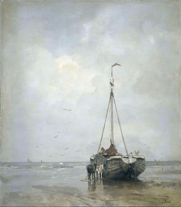 Jacob Maris~Bluff-bowed Fishing Boat - Classical art