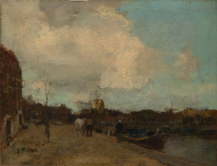 Jacob Maris~Canal Side - Classical art
