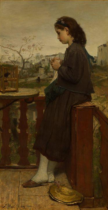 Jacob Maris~Girl knitting on a balco - Classical art