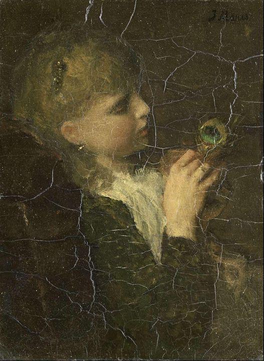 Jacob Maris~Girl with a Peacock Feat - Classical art