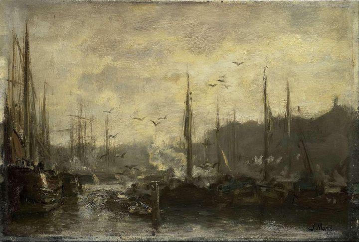 Jacob Maris~Harbor View - Classical art