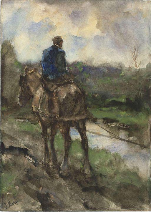 Jacob Maris~Jager te paard op het ja - Classical art