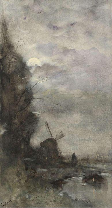 Jacob Maris~Landschap met molen bij - Classical art