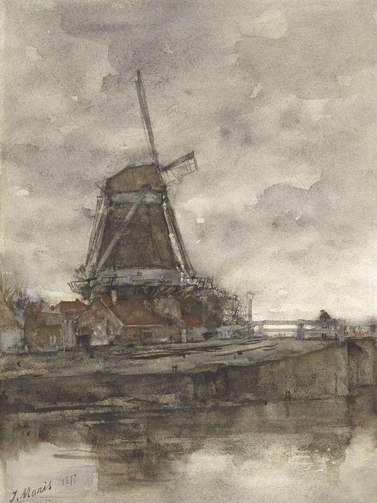 Jacob Maris~Molen en de brug bij de - Classical art