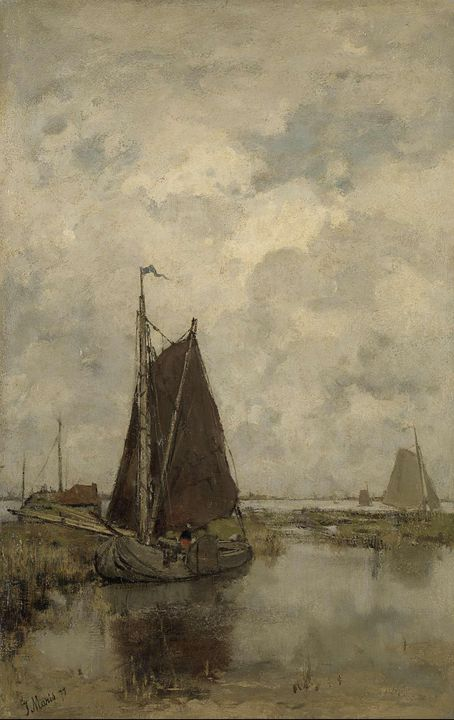 Jacob Maris~Ships in Dull Weather - Classical art