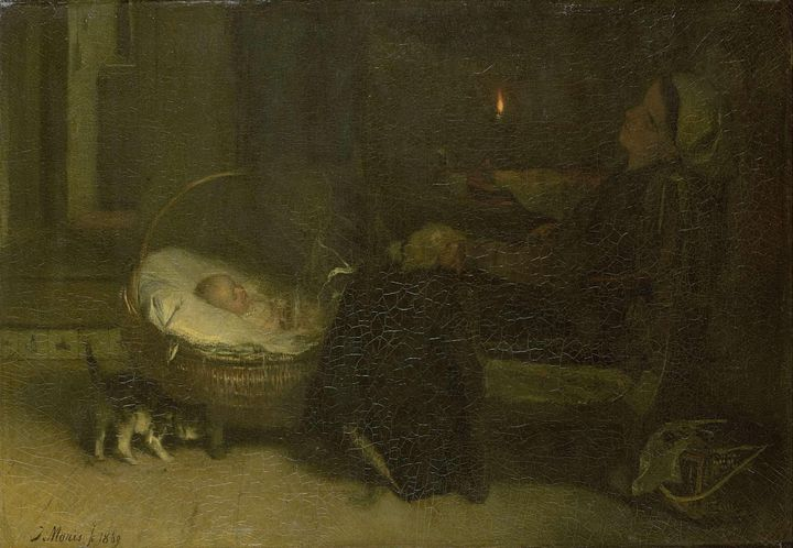 Jacob Maris~Tired Out (Mother Watche - Classical art