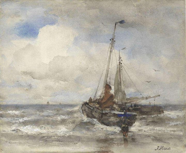 Jacob Maris~Twee vissersschepen bij - Classical art