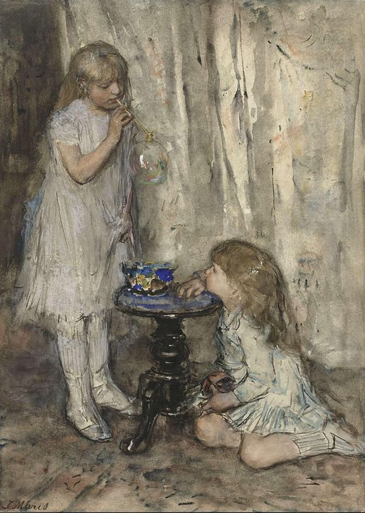 Jacob Maris~Two Girls Blowing Bubble - Classical art