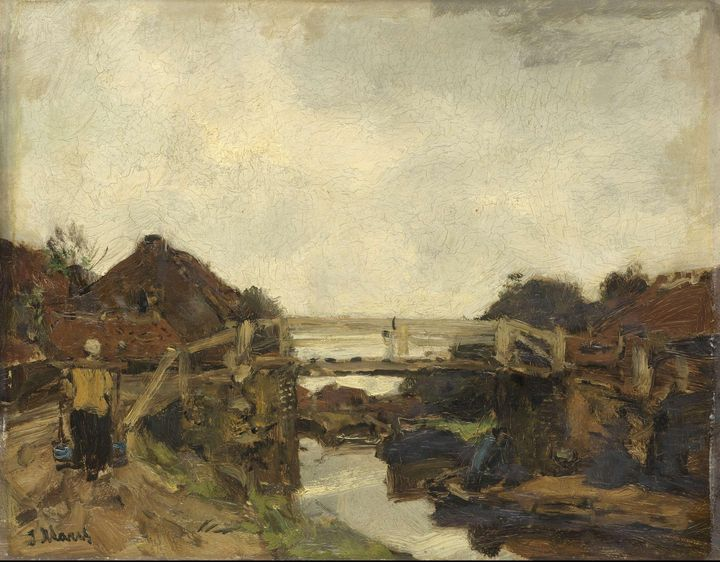 Jacob Maris~Wooden Bridge across a C - Classical art